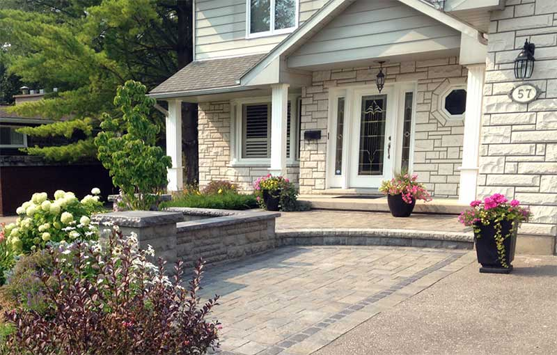 front entranceway with stone